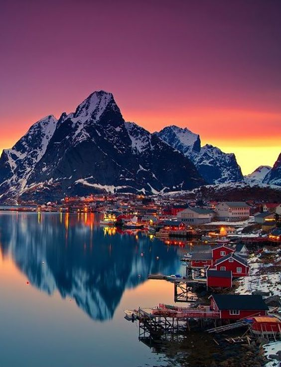 Lofoten, Norway....During the summer months the sun never sets in Northern Norway. During the winter months it never rises but the amazing natural phenomenon Aurora Borealis is also a must see.