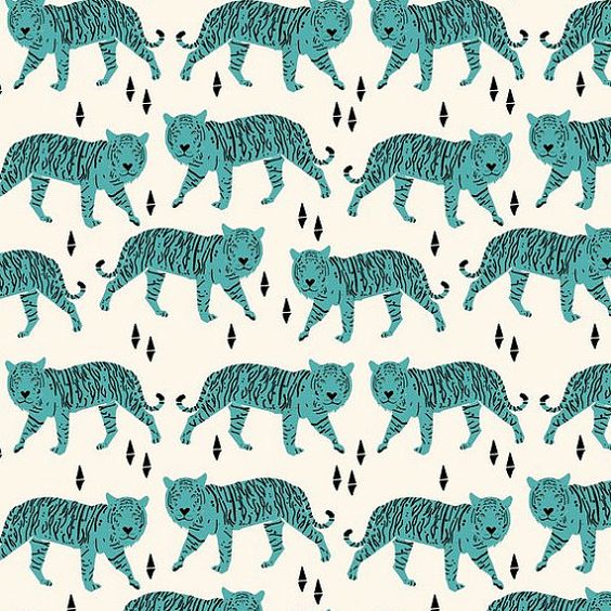 Teal Tigers Crib Sheet PrintonDemand by LittleSlumber on Etsy, $62.00