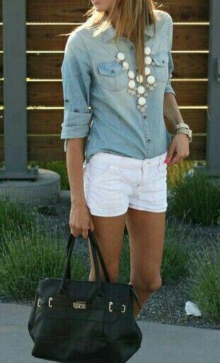 Denim- White shorts