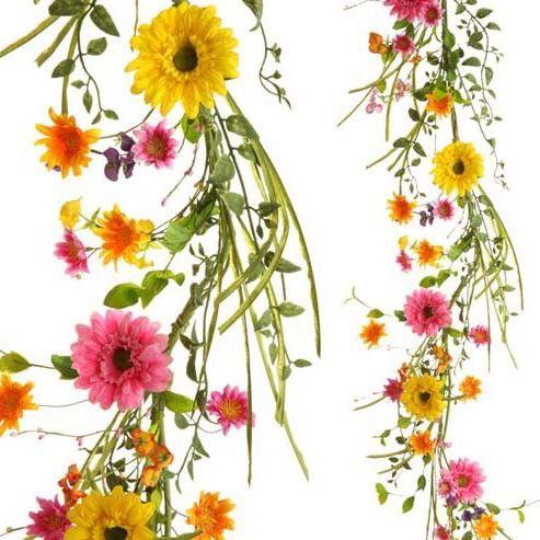 RAZ Gerbera Daisy Garland Multicolored Made of Polyester Measures 5'