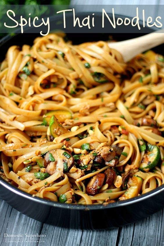 One Pot Spicy Thai Noodles - these are SO good and so easy to cook up. Vegetarian recipe but options for added protein too!:
