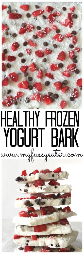 Frozen Yogurt Bark made with low sugar greek yogurt and topped with strawberries, dark chocolate chips and coconut: