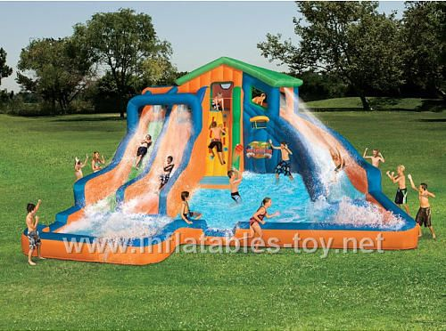 14102415159 Awesome Inflatable Water Parks For Your Backyard Your Kids Will Love Them Toysforkids W Water Slides Banzai Water Slide Inflatable Water Slide