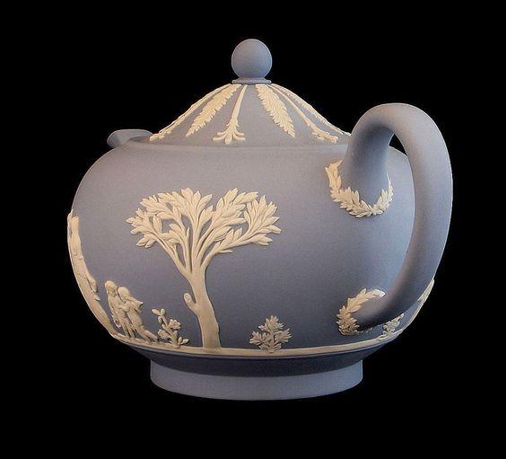 Wedgwood Light Blue And White Teapot. Circa 1940