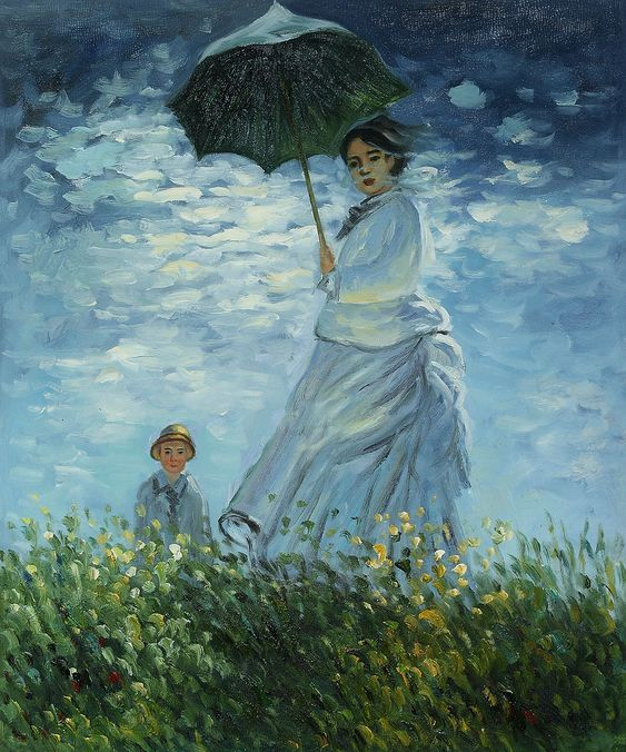 "Claude Monet captured his family in ""Madame Monet and her Son."" This masterpiece, originally painted in 1875, depicts Monet's first wife Claude and their eldest son, Jean. Hand painted oil painting reproduction by overstockArt.com.:"