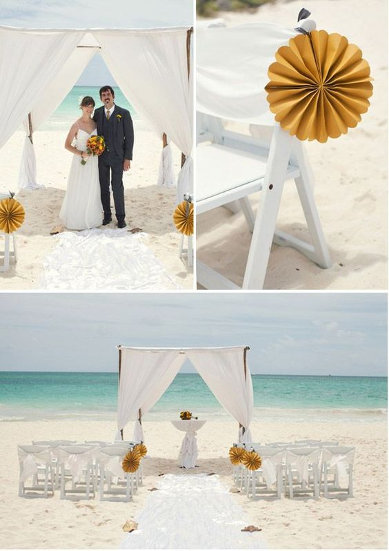 The first stop was a beached boat, which incorporated the yellow color from her ceremony accents and the blue of the ocean and sky. Description from greylikesweddings.com. I searched for this on bing.com/images