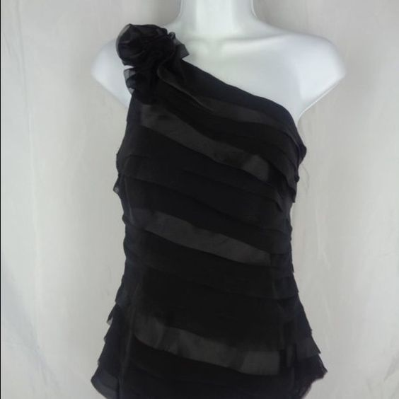 NWT WHBM tired one shoulder top NWT Sz 10. Super elegant and sexy. Open to reasonable offers White House Black Market Tops