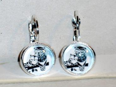 Ohrringe Eule Vogel Modeschmuck Glas Cabochon handgefertigt Legierung Ohrschmuck Damen Hänger Neuware