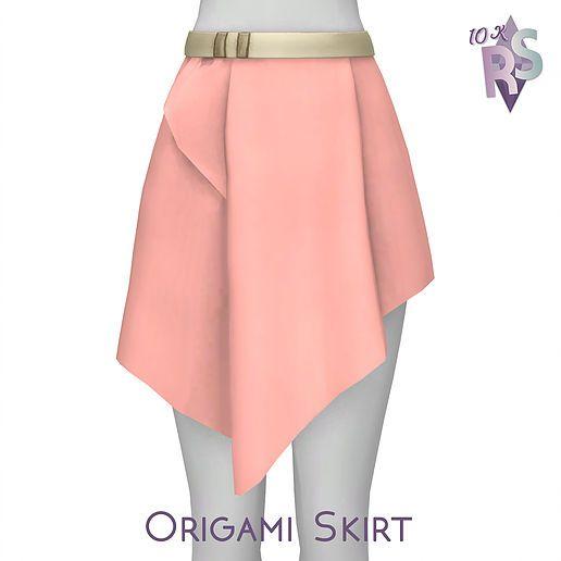 Create A Sim Renorasims Origami Skirt Fashion Sims