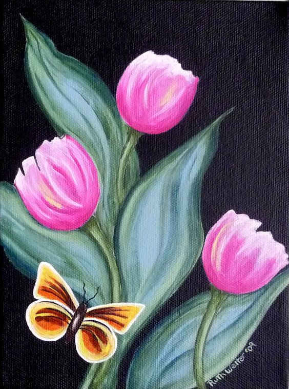 Tulip acrylics and butterflies on pinterest for Spring canvas paintings