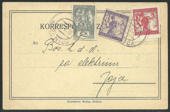Yugoslavia 1920 Commercial postcard (Lieferungschein), franked 15 vin., including also 2 vin. newspaper stamp (slightly cut into, which is relatively i...