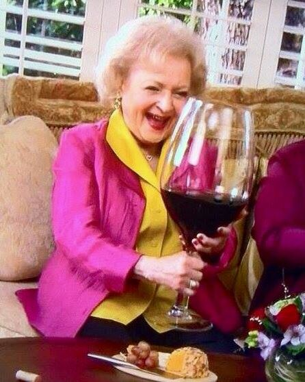 Betty White Huge Glass Of Wine Funny Mischievous