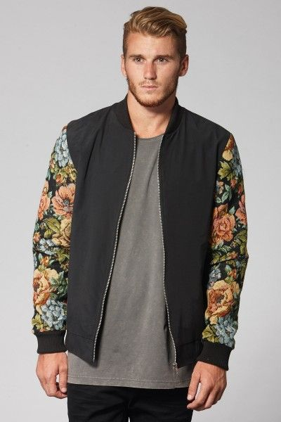 Black floral tapestry sleeve bomber jacket - bomber jackets