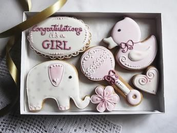 Congratulations Its A Girl Cookie Gift Box Baby Cookies Cookie Gifts Cookie Gift Box