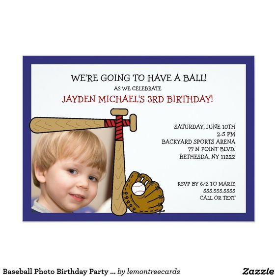 Baseball Photo Birthday Party Invite