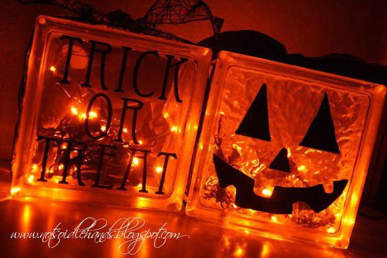 more halloween crafts: Blocks Halloween, Halloween Idea, Halloween Block, Halloween Decoration, Glass Block Crafts, Pumpkin Block