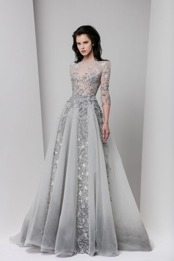 Embroidered long sleeve grey undertone wedding dress paolo tony ward wedding evening gownevening junglespirit Images