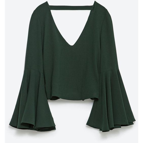 Zara Long Sleeve Top (280 ARS) ❤ liked on Polyvore featuring tops, blusas, dark green, zara tops and long sleeve tops