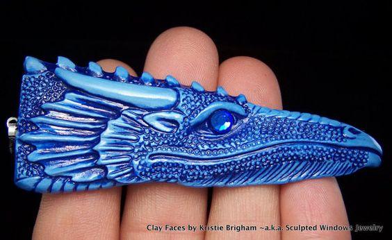Cobalt Blue Dragon Head Pendant or BEAD Polymer by sculptedwindows, $14.00