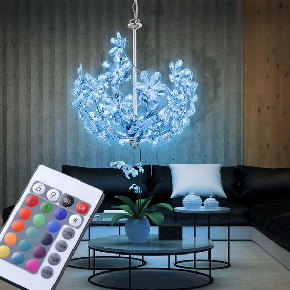 details zu rgb led pendel leuchte dimmbar blumen design wohn zimmer hnge lampe schaltbar - Designwohnzimmer