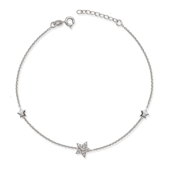 La Preciosa Sterling Silver Cubic Zirconia Star Anklet Women's