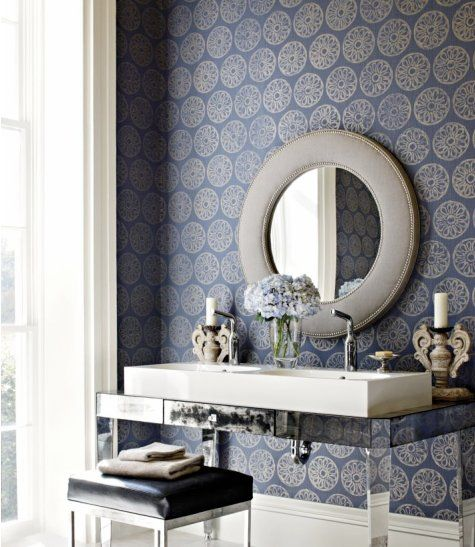 Gorgeous wallpaper, a new take on the mirrored vanity, a beautiful stool, and great light make this a perfect bathroom!