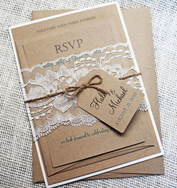 Rustic Wedding Invitation, The perfect mix of rustic lace and elegance! The lace wedding invitation is printed on eco kraft card stock paper and then layered on off white card stock, and wrapped with a vintage rustic lace belly band. Coordinating items such as programs, place cards, menus and more also available. ** Photo credit- http://www.theoverwhelmedbride.com **  THIS IS THE DEPOSIT TO START THE ORDERING PROCESS AND GOES TOWARDS THE ORDER TOTAL  -------- WHAT IS INCLUDED…