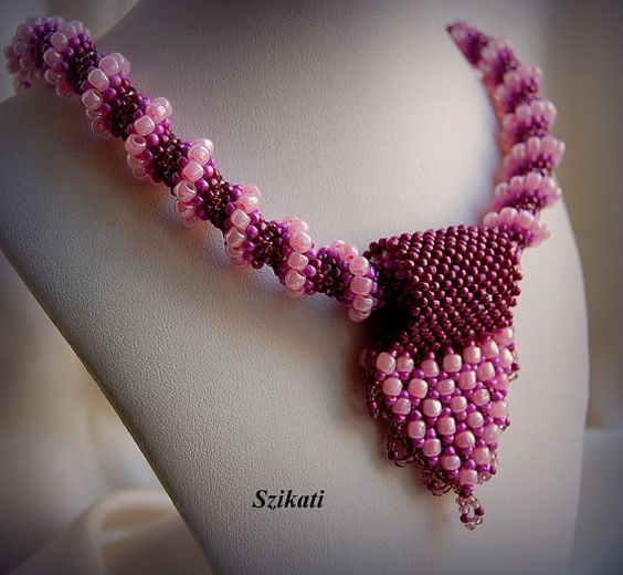 FREE SHIPPING Pink Seed Bead Statement Pendant Necklace by Szikati