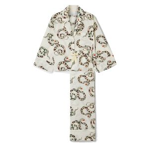 DESMOND & DEMPSEY | Cream India Printed Organic Cotton Pajama Set