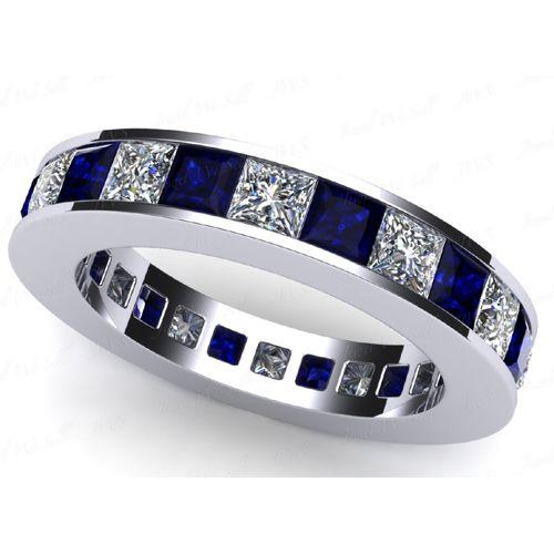 Diamant- Saphirring Memoire 2.55 Karat aus 950 Platin
