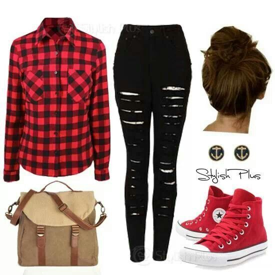Black and red plaid long sleeve shirt with skinny ripped jeans
