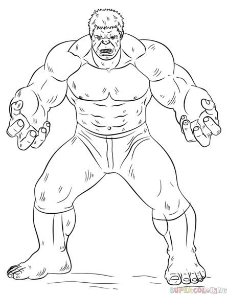 How To Draw Hulk Step By Step Drawing Tutorials For Kids And Beginners Hulk Coloring Pages Avengers Coloring Pages Batman Coloring Pages