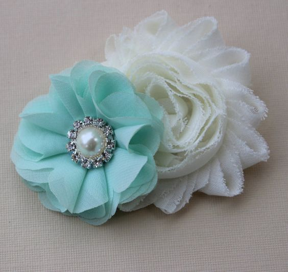 ivory and mint flower girl hair clip ivory by VioletsChicDesigns