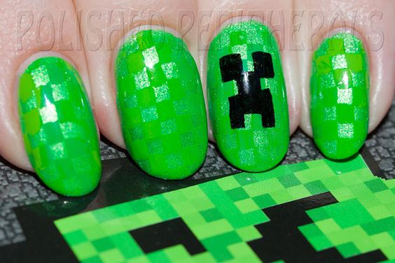 Creeper nails for Minecraft Camp. Two different green Mundo de Uñas stamping polishes over Illamasqua Omen.