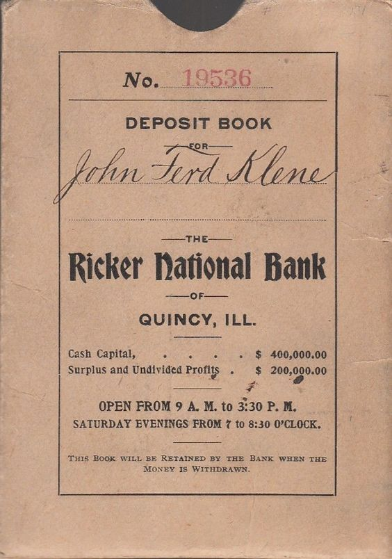 Ricker National Bank Quincy Il Illinois Deposit Book John Ferd