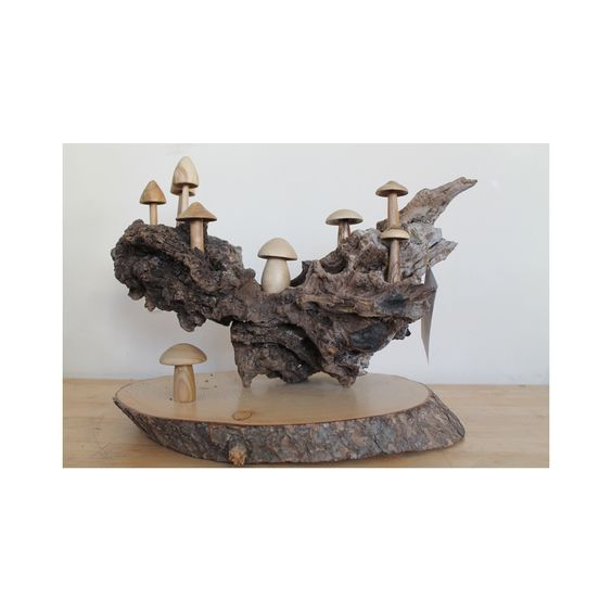Sculpture 8 champignons sur bois - MycoBoutique
