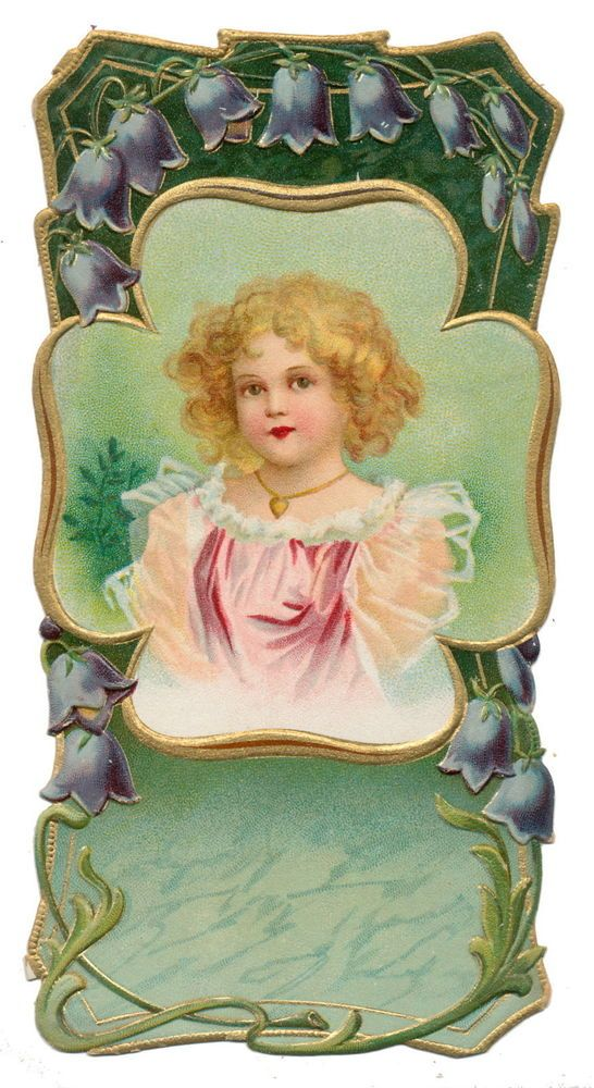 Ellen Clapsaddle Die Cut - Victorian Girl with Amulet:
