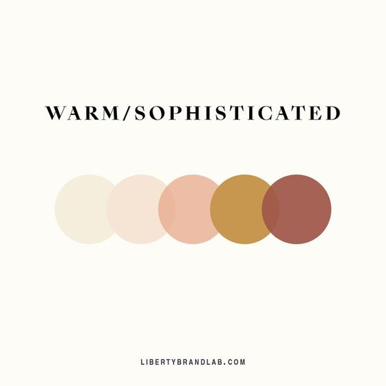 Warm and sophisticated brand palette made up of blush pinks, mustard and terra cotta colors - brand color palette inspiration from Liberty Brand Lab. #libertybrandlab #colorful #colorinspiration #palette #paletteinspiration #brandpalette #branddesigner