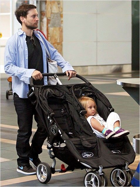 Tobey Maguire & Baby Jogger City Mini Double Stroller