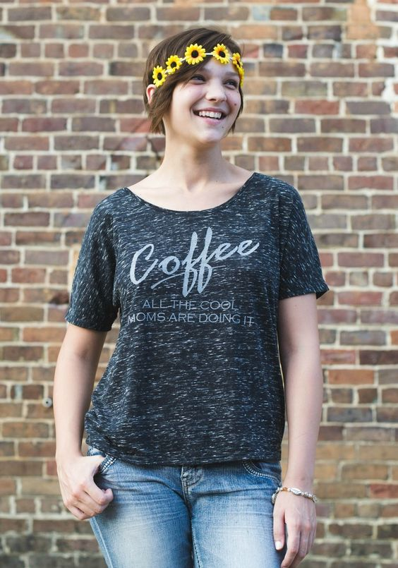 Coffee Cool Mom Slouchy Tee by Gravel Road Tees for the Coffee drinking mom in your life! Coffee all the cool moms are doing it - Hand printed comfy t-shirt. Great gift for coffee addicts and mothers. Teen - Plus size