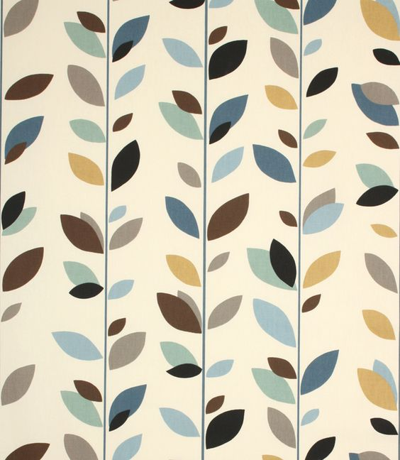 A contemporary leaf design in duckegg. Made from 100% cotton. This fabric is suitable for blinds, curtains and cushions. Our online store and shops in Burford and Cheltenham have huge stocks of discount curtain and upholstery fabrics.