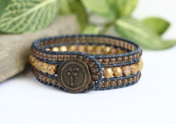 Picasso Beige Beaded Leather Cuff, 3 Row Bracelet, Mocha Brown, Navy Blue Leather, Wrap Bracelet, Tree Button, Button Bracelet, Boho Jewelry by BearCreekCollection on Etsy https://www.etsy.com/listing/290551087/picasso-beige-beaded-leather-cuff-3-row