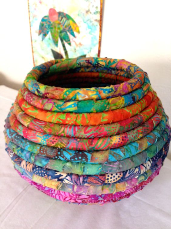 Batik Fabric Coiled Basket Pot Pinterest Baskets