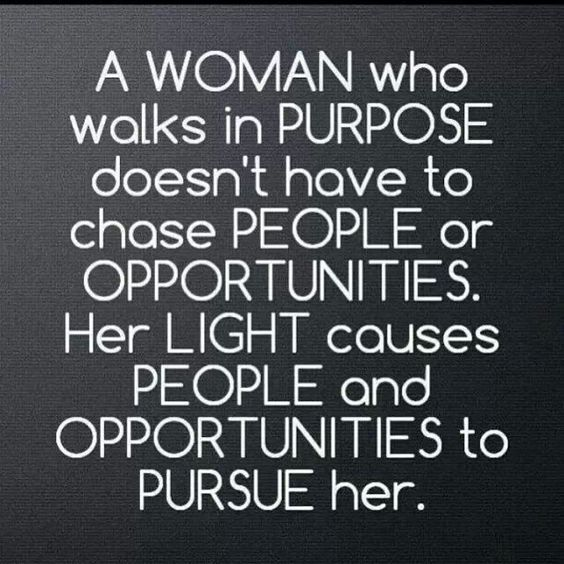 A woman who walks in purpose.: