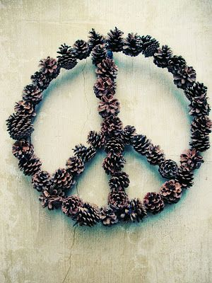 The hippie in me LOVES this idea for a pine cone peace sign wreath