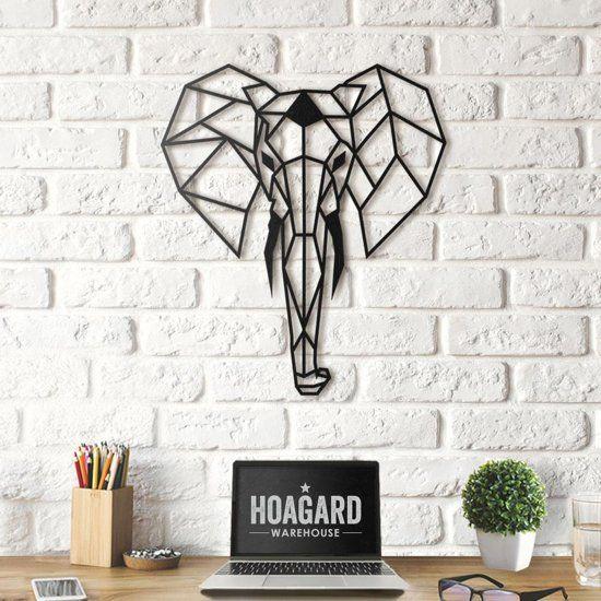 Hoagard Metalen Olifant Muurdecoratie 45cm X 52cm Metal Elephant Wall Art Olifant Kunst Aan De Muur Muurdecoratie Wanddecoraties
