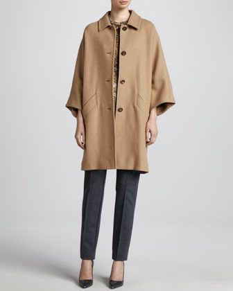 Camel Cocoon Coat, Leopard Cap-Sleeve Blouse & Scuba Jersey Side-Zip Pants by Escada at Neiman Marcus.