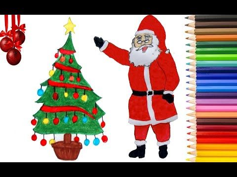 How To Draw Santa Claus And Christmas Tree Step By Step How To Draw Santa Christmas Tree Drawing Trees Drawing Tutorial