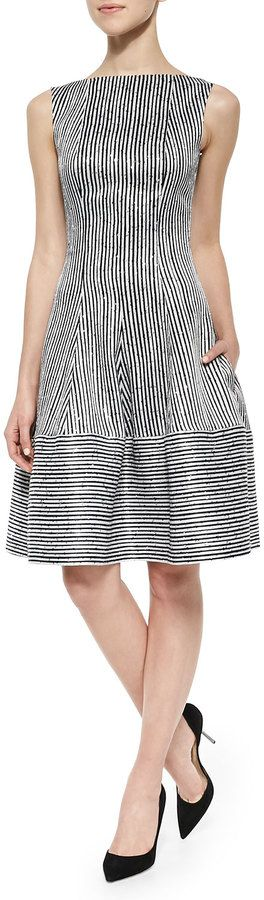 Talbot Runhof Golo Sequined Striped Fit-And-Flare Dress, Black/White