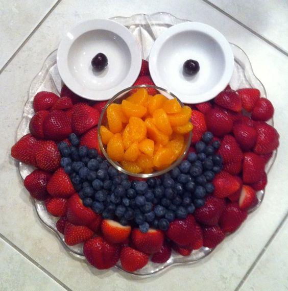 Elmo fruit platter.  For the boys